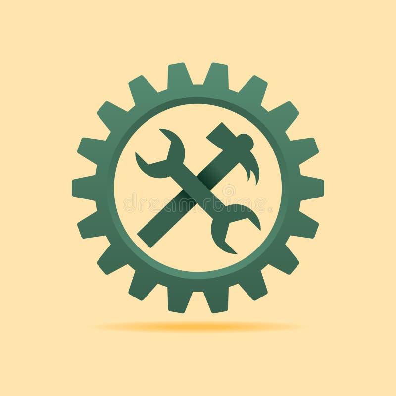 Usine l'icône à l'intérieur de la roue de dent illustration de vecteur