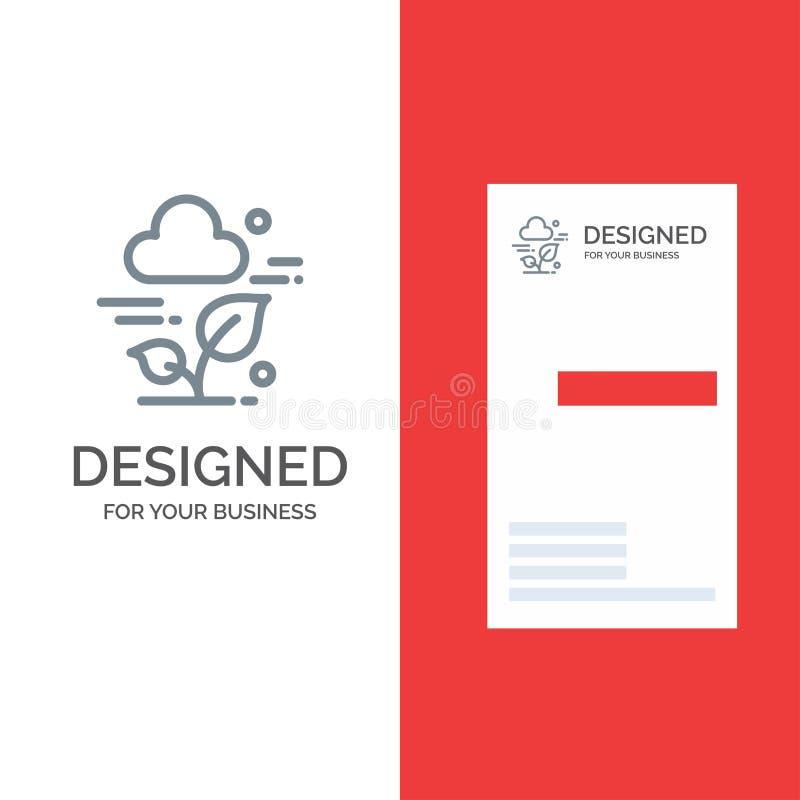 Usine, nuage, feuille, technologie Grey Logo Design et calibre de carte de visite professionnelle de visite illustration libre de droits