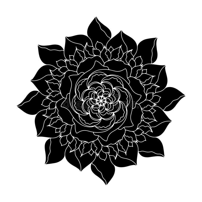 Usine organique de fleur d'icône rose noire de vecteur r r illustration de vecteur