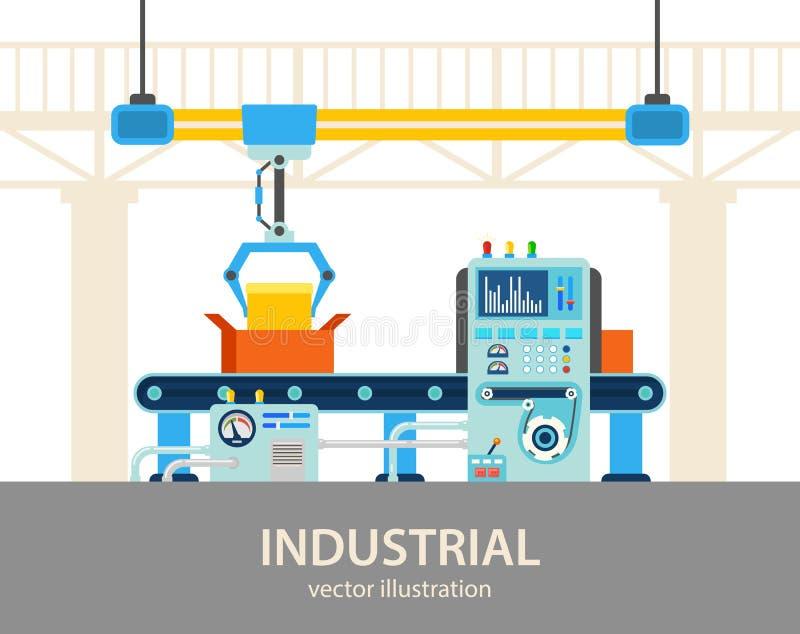 Usine ou chaîne de montage automatisée par usine illustration libre de droits