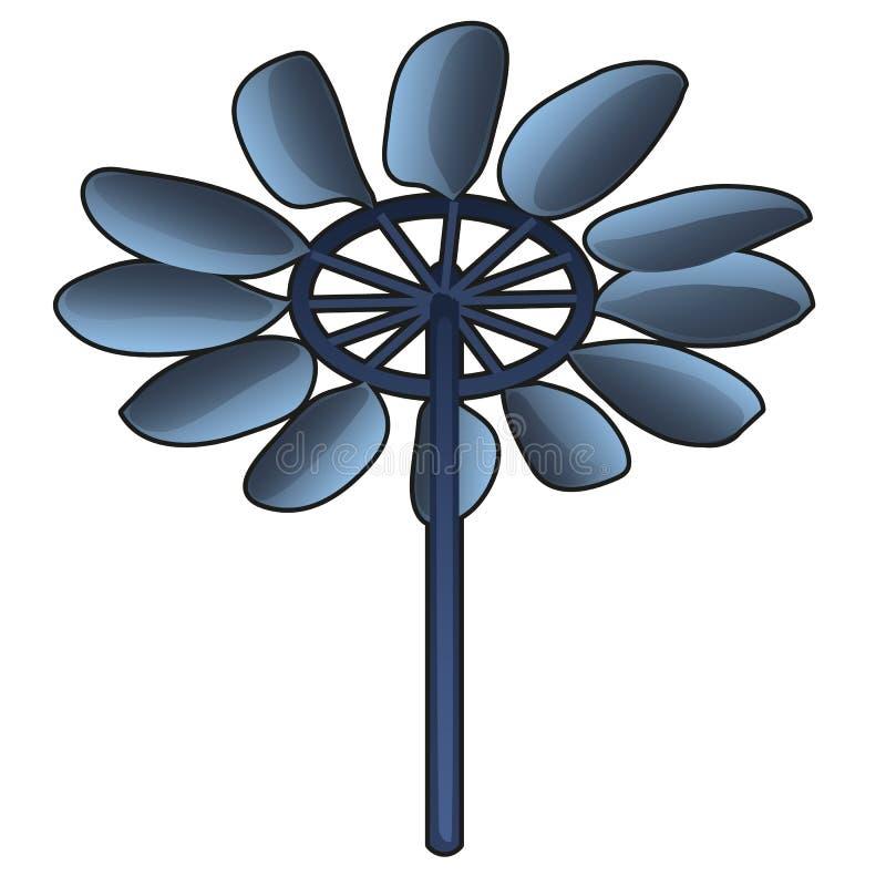 Usine ou turbines d'énergie éolienne produisant l'énergie viable d'isolement sur le fond blanc Plan rapproché de bande dessinée d illustration stock