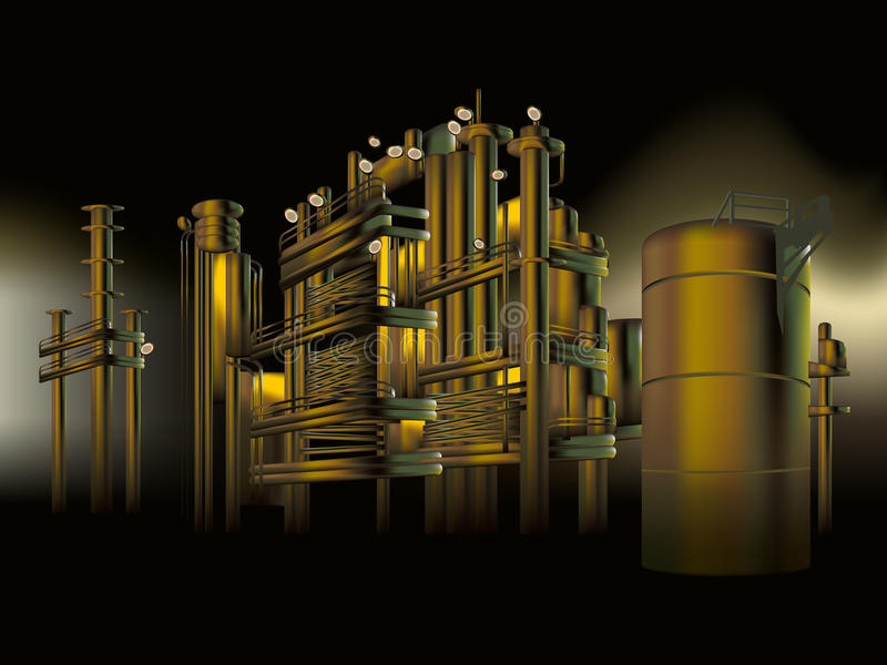 Usine pétrochimique de raffinerie de pétrole et de gaz la nuit illustration de vecteur