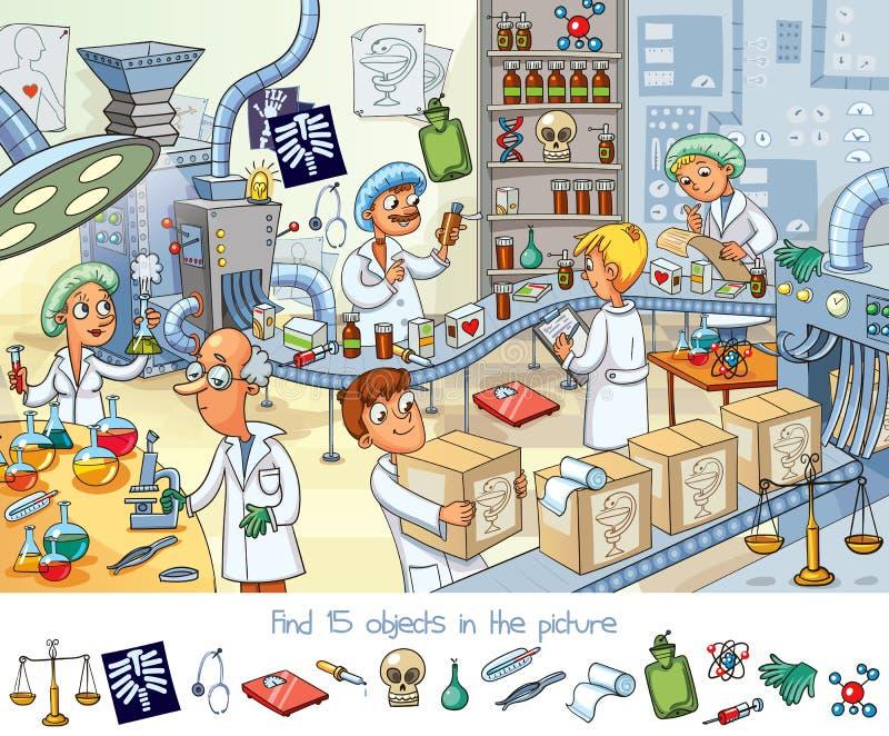 Usine pharmaceutique E illustration de vecteur