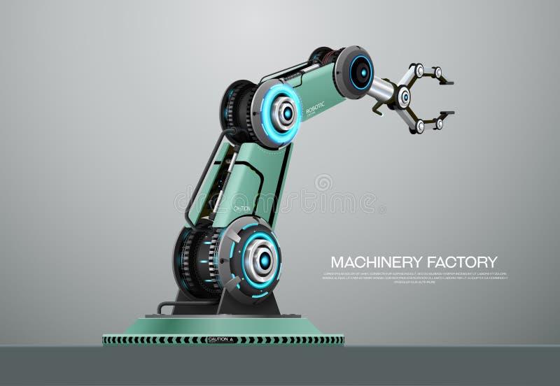 Usine robotique de main de bras de robot de machine illustration de vecteur