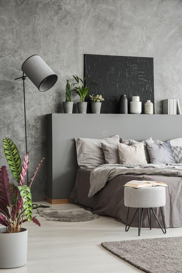 Usine, selles et lampe dans l'intérieur gris moderne de chambre à coucher avec le courrier images stock