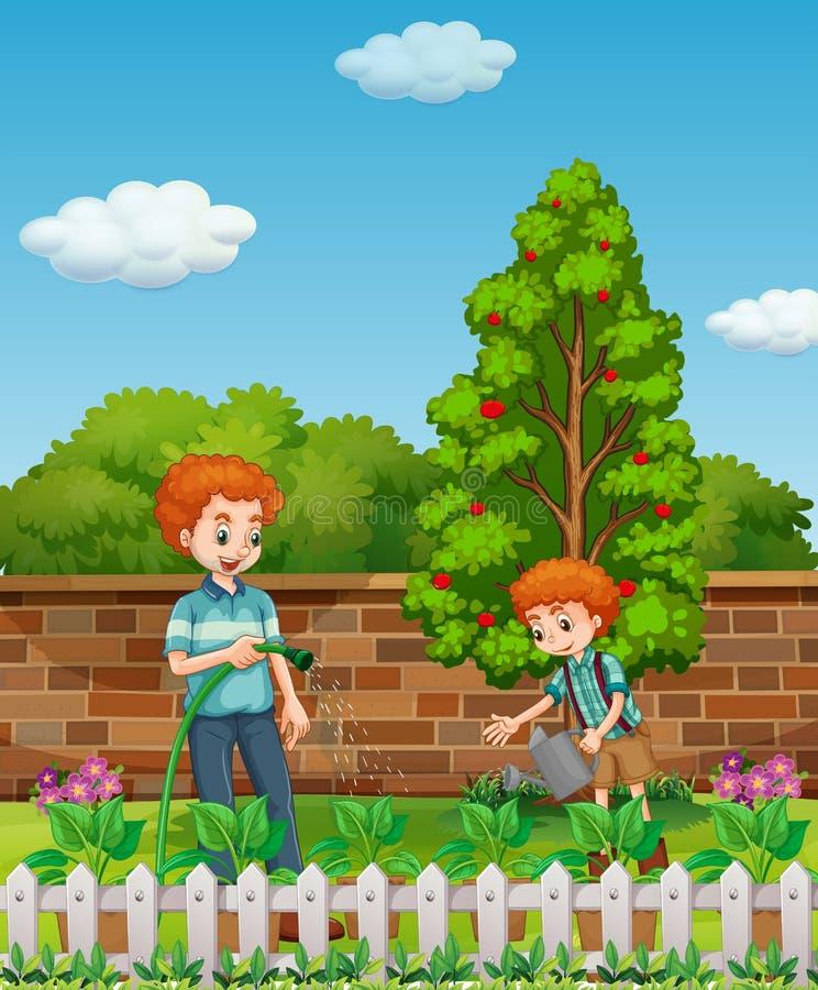 Usines d'arrosage de père et de fils dans le jardin illustration de vecteur