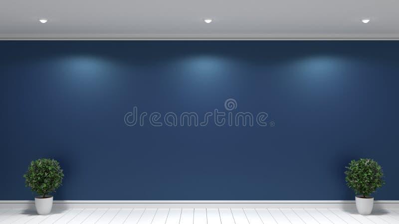Usines dans le plancher blanc sur l'int?rieur vide de pi?ce de fond sombre de mur illustration stock