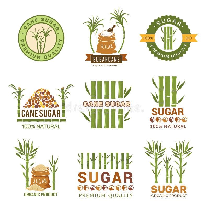 Usines de canne à sucre Moissonnez les symboles de vecteur de feuille de production granulés par bonbons de ferme d'isolement illustration de vecteur