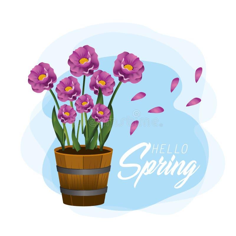 Usines de fleurs de ressort avec des pétales de nature illustration libre de droits