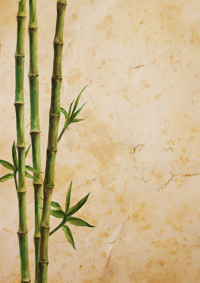 Usines en bambou vertes sur le vieux fond de papier brun illustration de vecteur