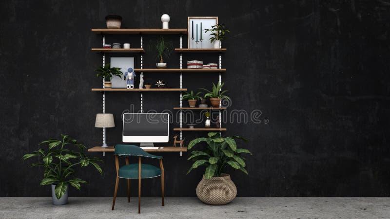 Usines et chaise sur le plancher devant le mur illustration de vecteur