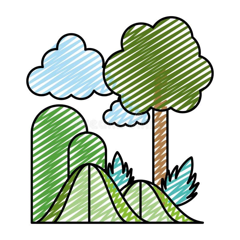 Usines exotiques d'arbre de montagnes de beauté de griffonnage illustration libre de droits