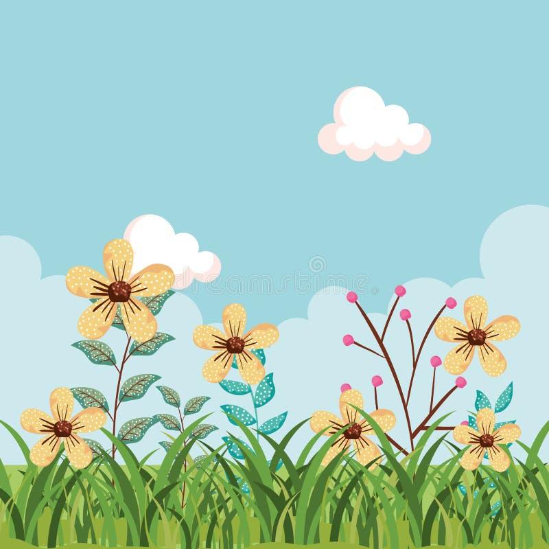 Usines exotiques de fleurs avec les feuilles et l'herbe de branches illustration stock