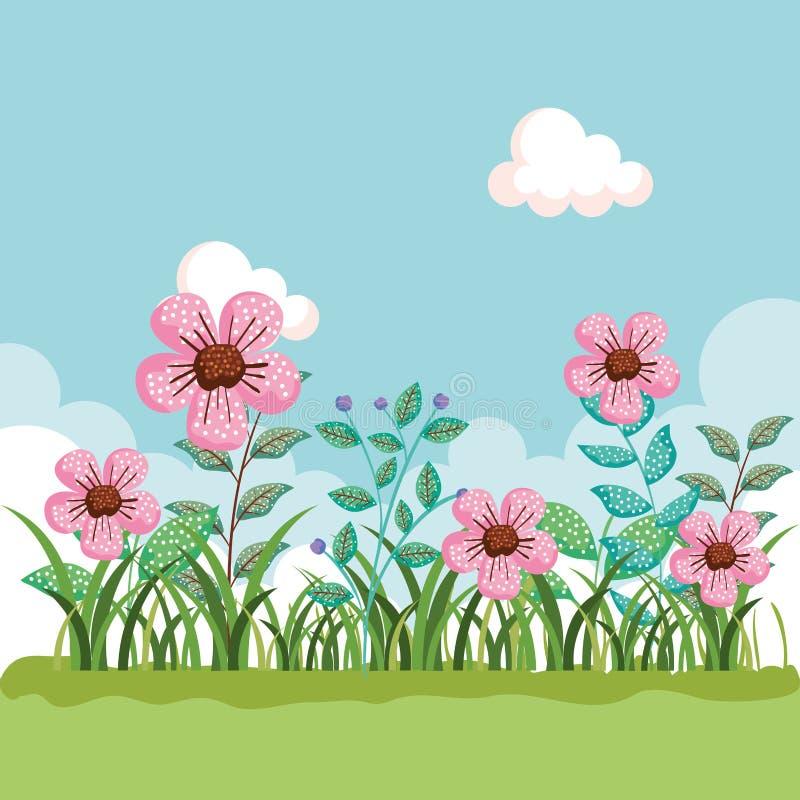 Usines exotiques de fleurs avec les feuilles et l'herbe illustration de vecteur