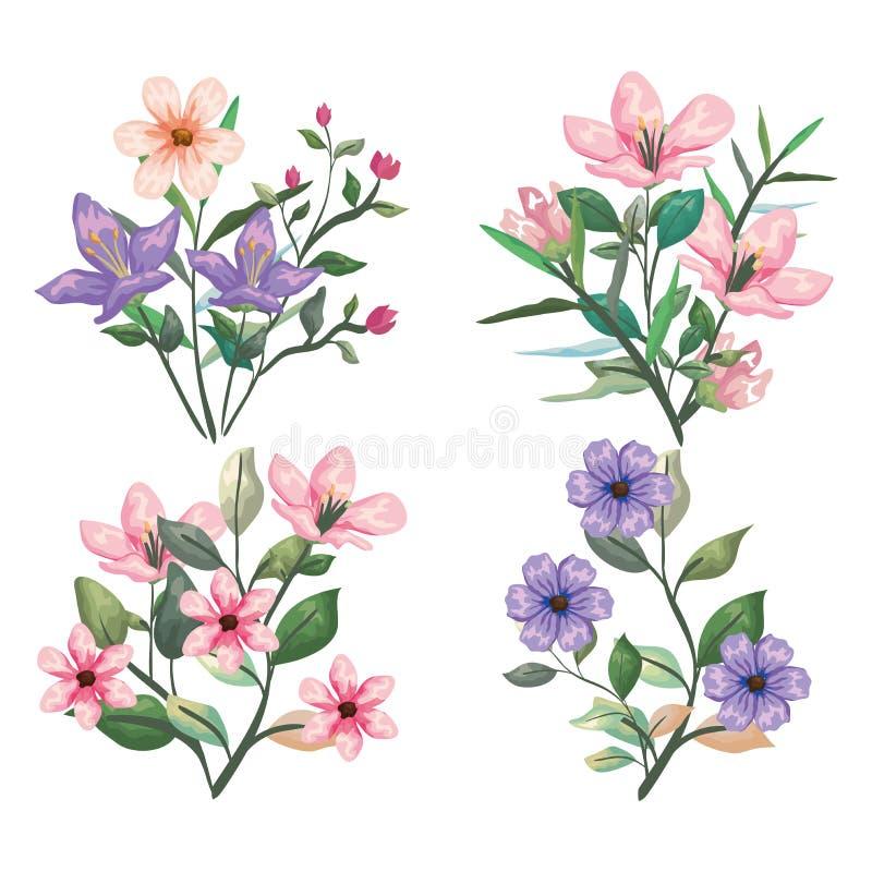 Usines exotiques réglées de fleurs et feuilles botaniques illustration libre de droits