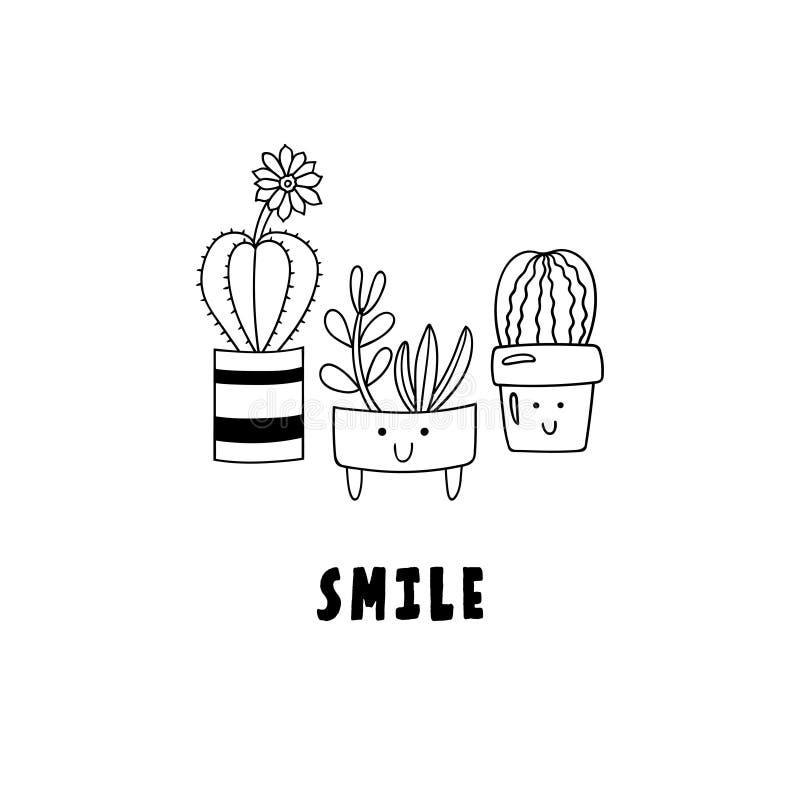 Usines mises en pot de bande dessinée mignonne Succulents et cactus de griffonnage dans le sourire de pots et d'inscription de fl illustration de vecteur