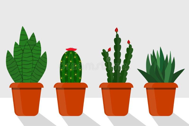 Usines plates de pièce de style dans des pots, illustration Cactus, sansevieriya, disocactus illustration de vecteur