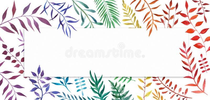 Usines tirées par la main colorées d'arc-en-ciel Drapeau avec la place pour votre texte illustration libre de droits
