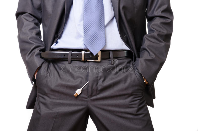Download Usinessman Pulls Out A Usb Cable Off His Pants. Stock Photography - Image: 26781552