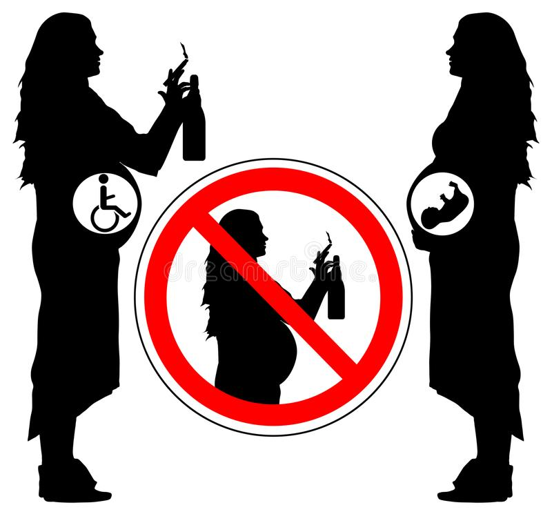 Using alcohol and smoking cigarette of pregnancy woman can lead to disability of baby, vector.  stock illustration