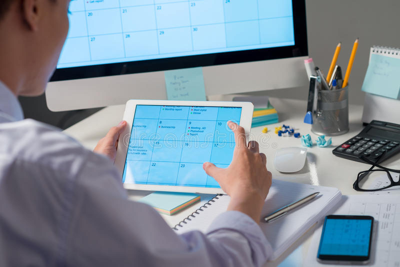 Using calendar application royalty free stock photos