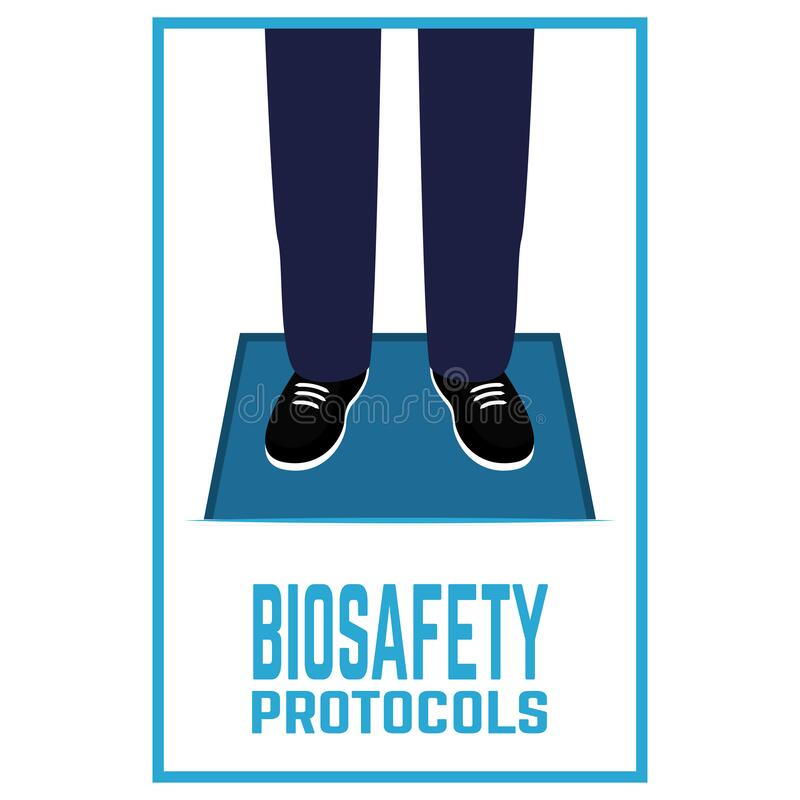 Biosafety protocols poster. Using disinfection mat. coronavirus prevention. Biosafety protocols poster - Vector stock illustration