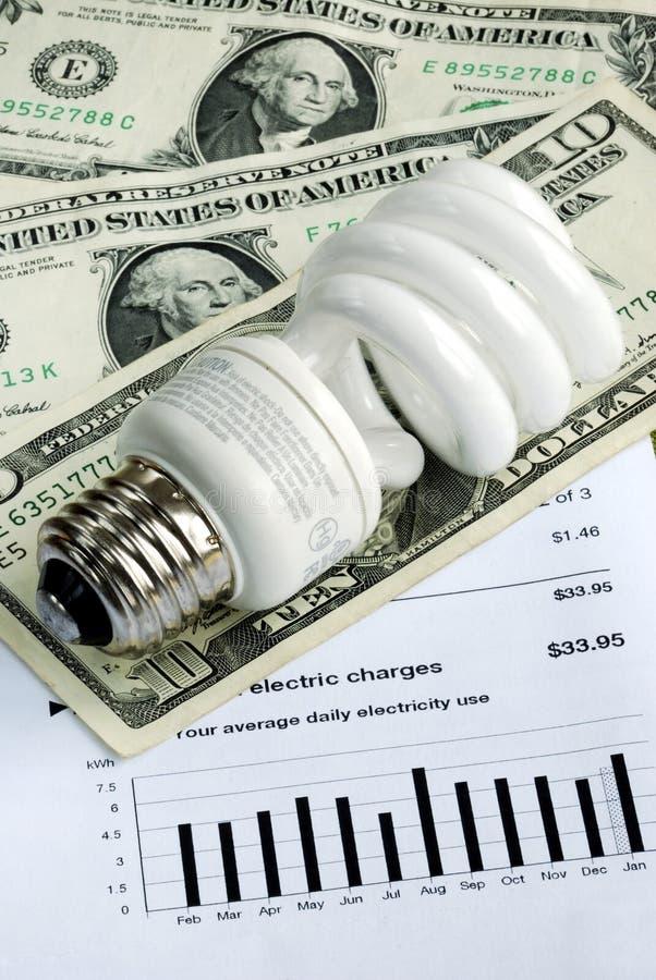 Using energy savings light bulbs. Save money by using energy savings light bulbs royalty free stock photos