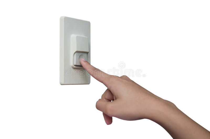Using finger to press the home buzzer. stock images