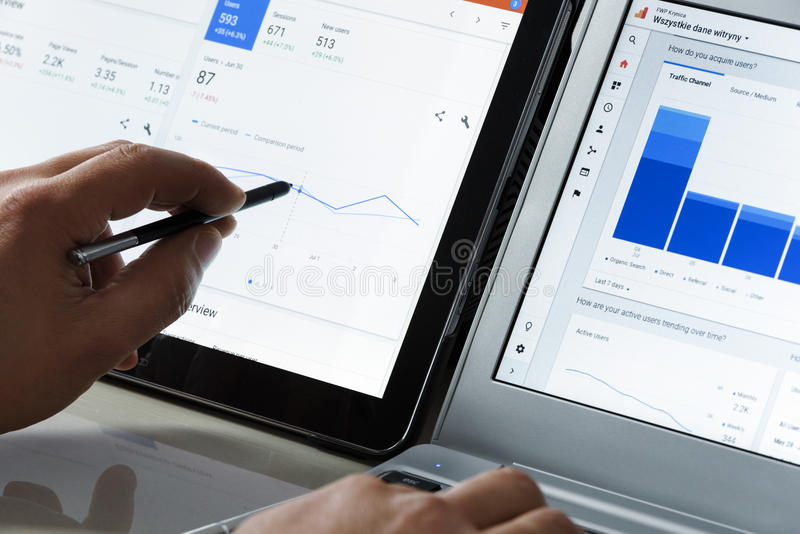 Using Google Analytics in the office stock photography