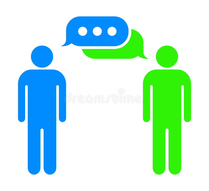 Using the internet chat bubbles. Conversation symbol illustration between two people using the internet chat - eps 10 stock illustration
