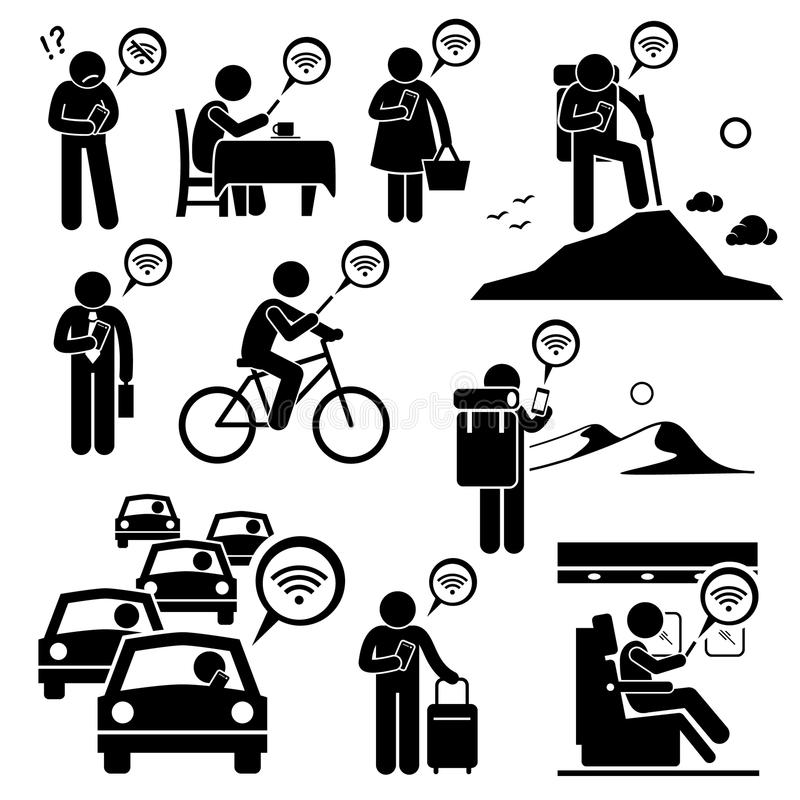 Using Internet with Phone at Different Places. Human pictogram stick figures showing people using Internet with their smartphone in various places stock illustration