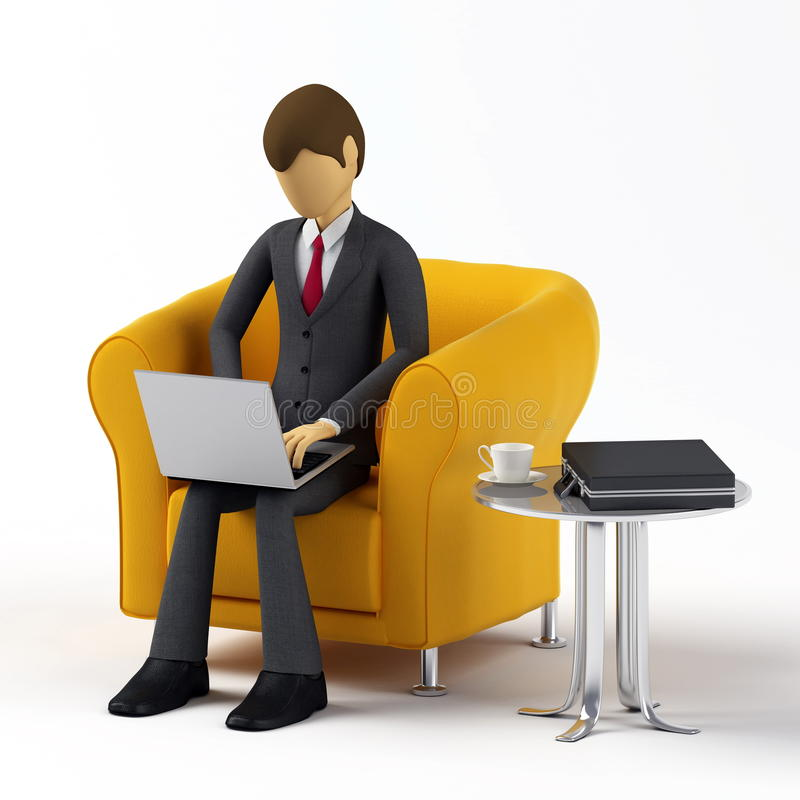 Download Using laptop stock illustration. Image of computer, character - 12677112