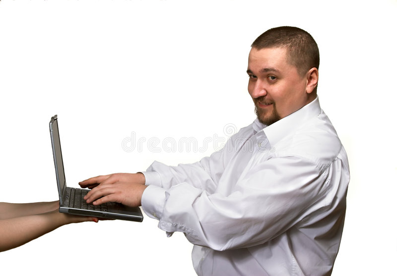 Download Using Laptop On Female Hands Stock Image - Image: 2207537