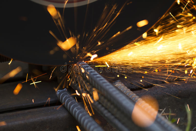 Using Metal grinding cutting steel royalty free stock images