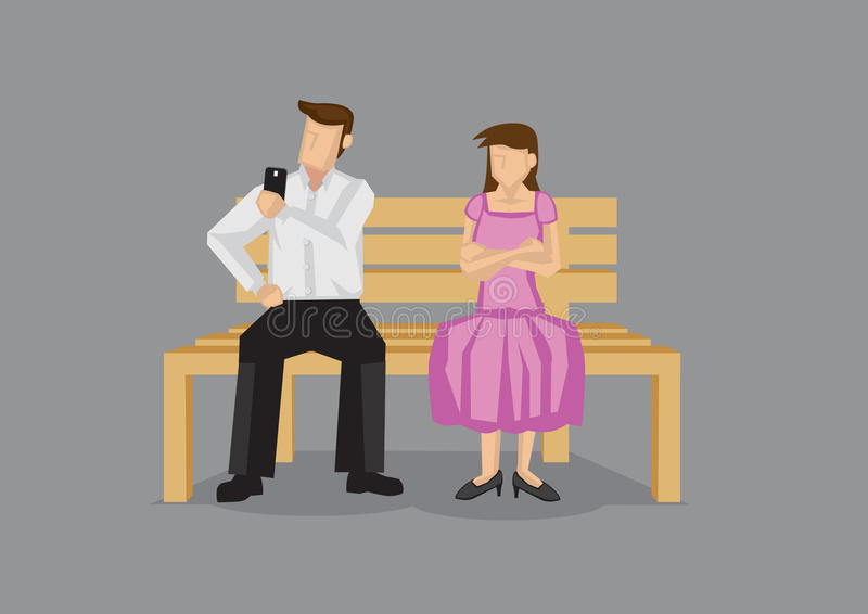 Using Mobile Phone on a Date Vector Illustration. Cartoon man checking his mobile phone on a date and neglecting girlfriend, leaving her pissed. Vector cartoon vector illustration
