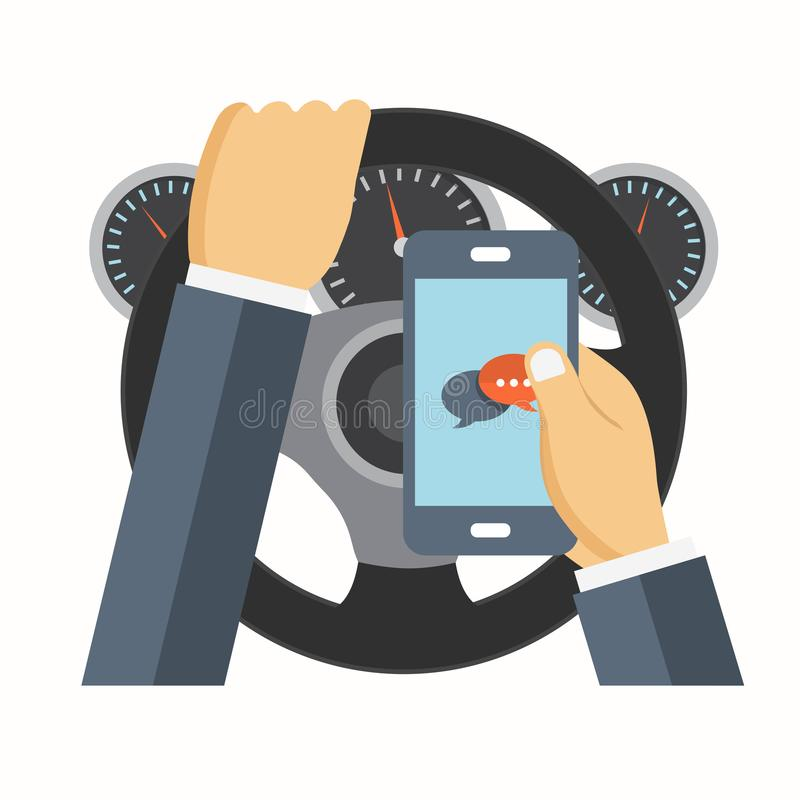 Using mobile phone while driving. Flat vector illustration. Using mobile phone while driving. Texting while driving. Flat vector illustration royalty free illustration