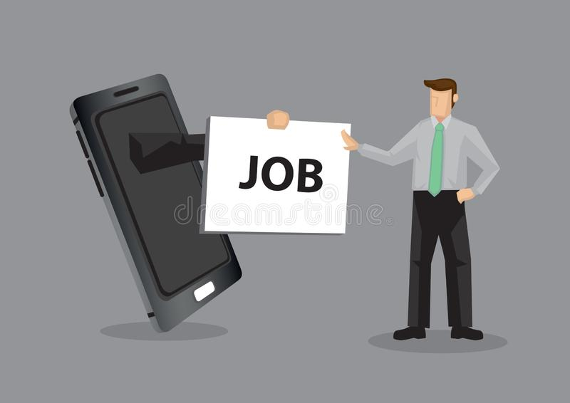 Using Mobile Phone for Job Search Cartoon Vector Illustration. Arm from mobile phone hands placard with text JOB to cartoon professional man, metaphor for using stock illustration