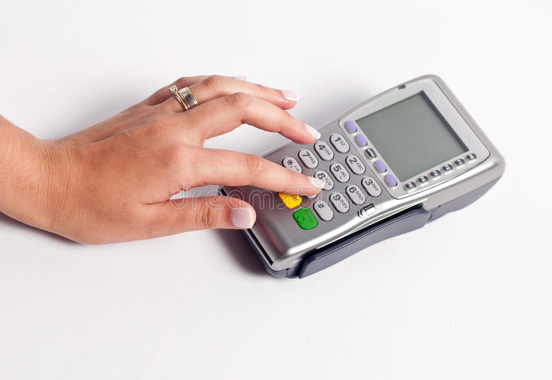 Using a point of sale. A Person using a point of sale stock images