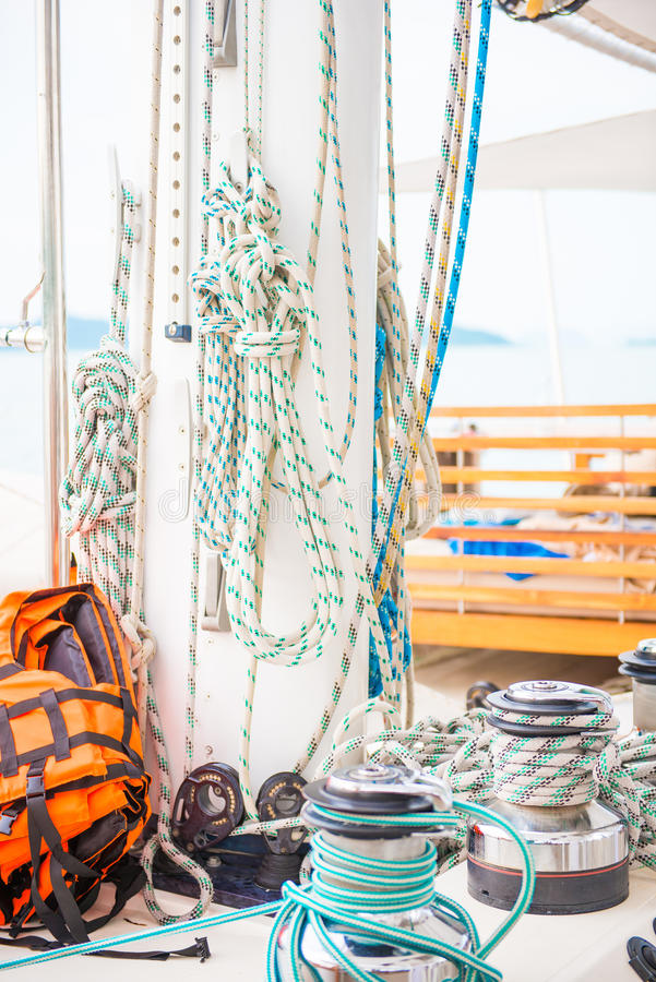Using rope on the yacht. Boat royalty free stock photos