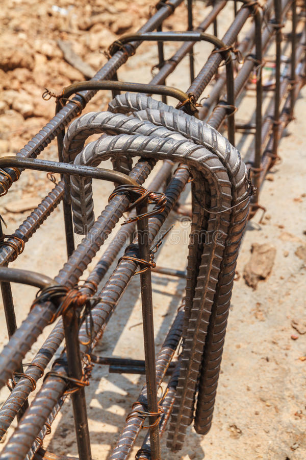 Using steel wire (rebar) for securing steel bars stock photo