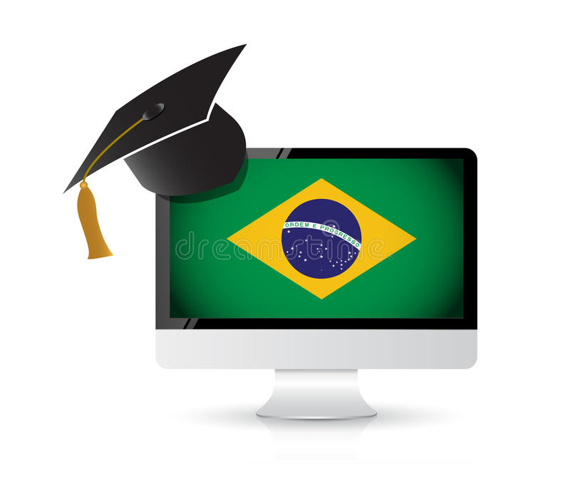 Using technology to learn the portuguese language. Illustration design concept stock illustration