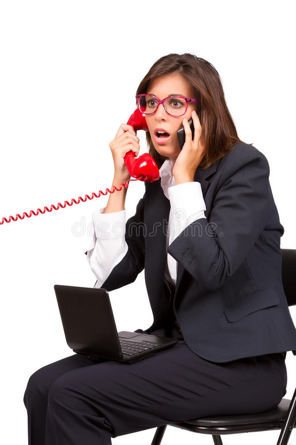 Using Telephone And Laptop Stock Photography