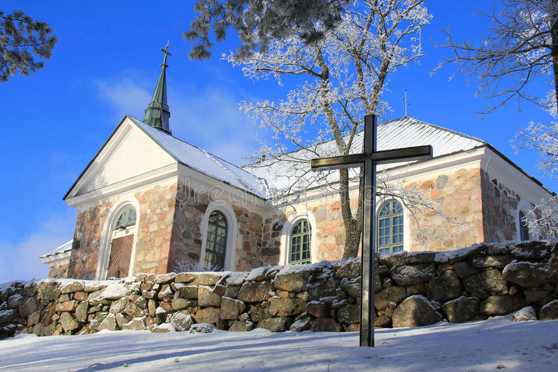 Uskela Church in Salo, Finland. In winter with hoarfost on trees stock photo