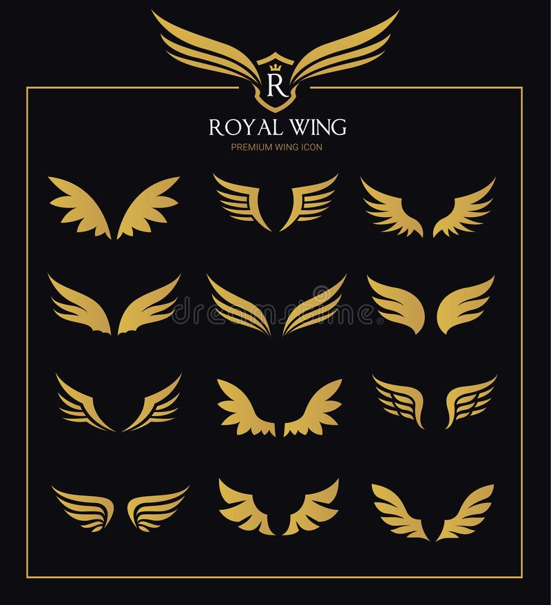 Uskrzydla ikona set royalty ilustracja