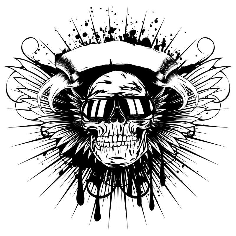 Uskrzydla skull_var 1 royalty ilustracja