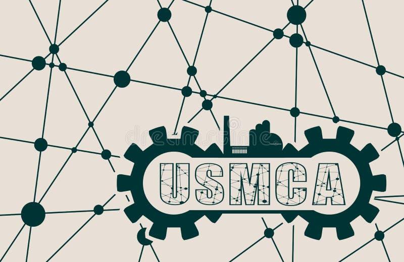 USMCA - Accordo degli Stati Uniti Messico Canada illustrazione vettoriale