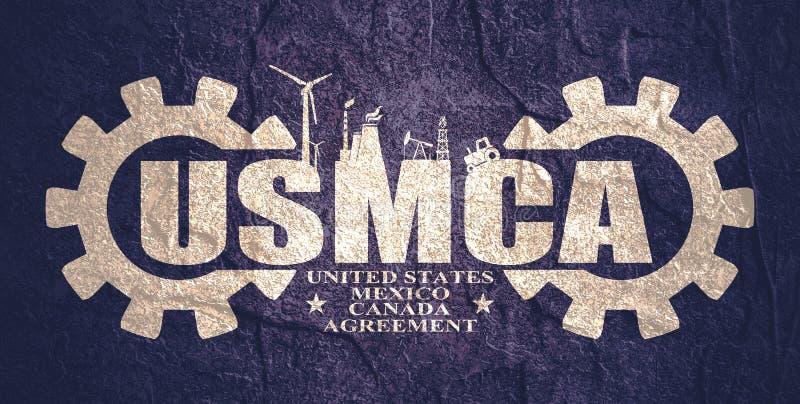 USMCA - Acuerdo de Estados Unidos México Canadá imágenes de archivo libres de regalías