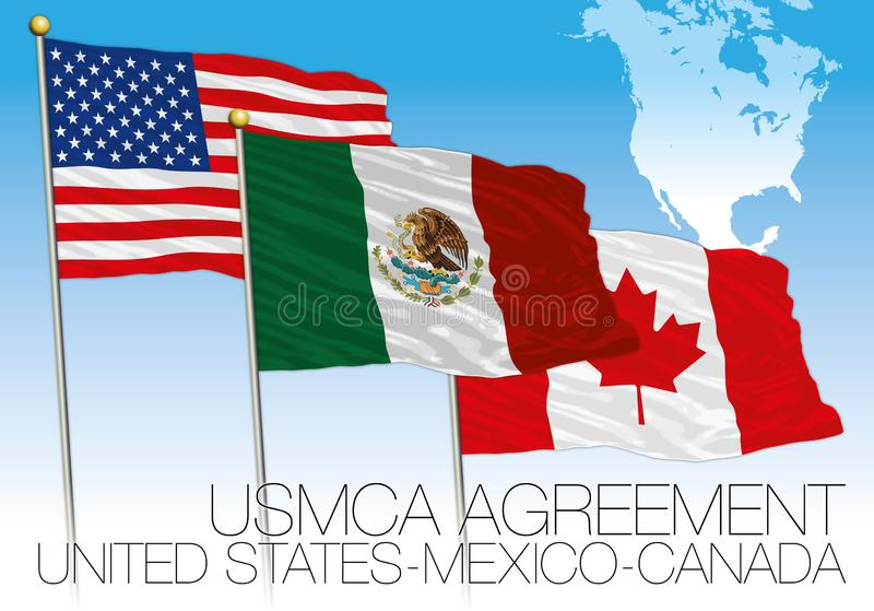 USMCA Agreement 2018 flags, United States, Mexico, Canada with map stock illustration