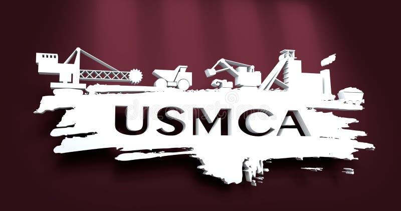 USMCA - Stany Zjednoczone Meksyk Kanada zgoda ilustracja wektor