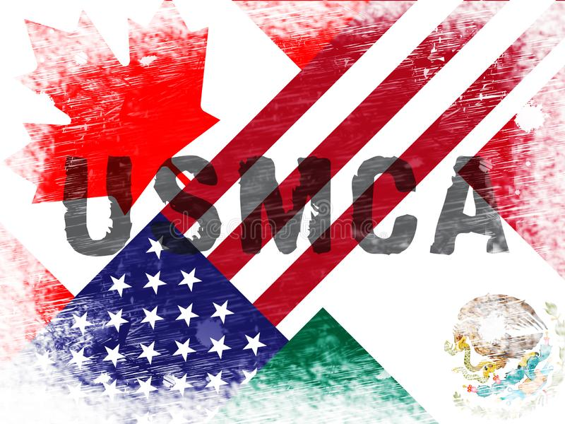 USMCA United States Mexico Canada Agreement Treaty - 2d Illustration. USMCA United States Mexico Canada Agreement Treaty. Political Contract And Deal By Donald stock illustration